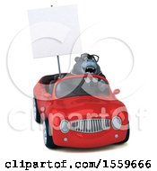 Poster, Art Print Of 3d Business Gorilla Mascot Driving A Convertible On A White Background