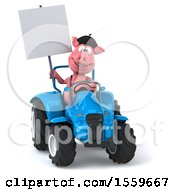 3d Pig Operating A Tractor On A White Background