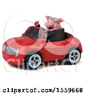 Poster, Art Print Of 3d Chubby Business Pig Driving A Convertible On A White Background