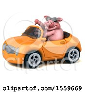 Poster, Art Print Of 3d Chubby Pig Driving A Convertible On A White Background