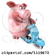 3d Chubby Pig Riding A Scooter On A White Background
