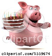 3d Chubby Pig Holding A Birthday Cake On A White Background