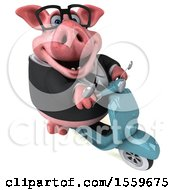 April 19th, 2018: Clipart Of A 3d Chubby Business Pig Riding A Scooter On A White Background Royalty Free Illustration by Julos