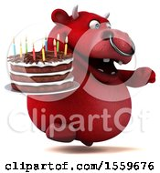Poster, Art Print Of 3d Red Bull Holding A Birthday Cake On A White Background
