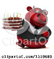 Poster, Art Print Of 3d Red Business Bull Holding A Birthday Cake On A White Background