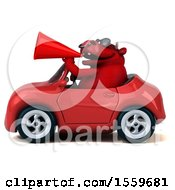 Poster, Art Print Of 3d Red Bull Driving A Convertible On A White Background