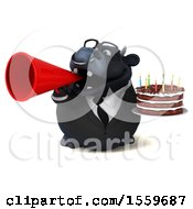 Poster, Art Print Of 3d Black Business Bull Holding A Birthday Cake On A White Background