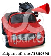 Poster, Art Print Of 3d Black Business Bull Driving A Convertible On A White Background