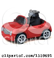 Poster, Art Print Of 3d Black Bull Driving A Convertible On A White Background