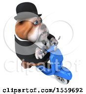 April 19th, 2018: Clipart Of A 3d Gentleman Or Business Bulldog Riding A Scooter On A White Background Royalty Free Illustration by Julos
