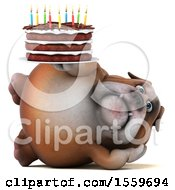 Clipart Of A 3d Bulldog Holding A Birthday Cake On A White Background Royalty Free Illustration by Julos
