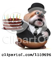 Poster, Art Print Of 3d Gentleman Or Business Bulldog Holding A Birthday Cake On A White Background