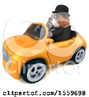 Poster, Art Print Of 3d Gentleman Or Business Bulldog Driving A Convertible On A White Background