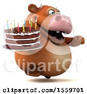 Poster, Art Print Of 3d Brown Cow Holding A Birthday Cake On A White Background
