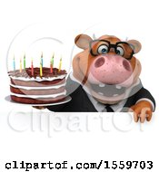 Poster, Art Print Of 3d Brown Business Cow Holding A Birthday Cake On A White Background