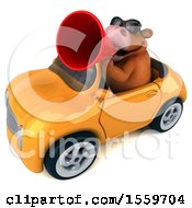 Poster, Art Print Of 3d Brown Cow Driving A Convertible On A White Background