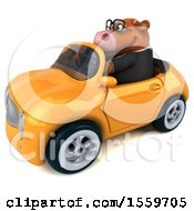 Clipart Of A 3d Brown Business Cow Driving A Convertible On A White Background Royalty Free Illustration by Julos
