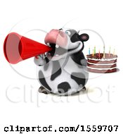 Clipart Of A 3d Holstein Cow Holding A Birthday Cake On A White Background Royalty Free Illustration by Julos