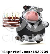 Poster, Art Print Of 3d Business Holstein Cow Holding A Birthday Cake On A White Background