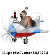 Poster, Art Print Of 3d French Snail Flying A Plane On A White Background