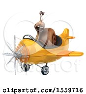 Poster, Art Print Of 3d Snail Flying A Plane On A White Background
