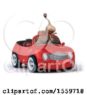 Poster, Art Print Of 3d Snail Driving A Convertible Car On A White Background