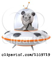 3d Panda Flying A Ufo On A White Background