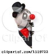 3d Panda Clown On A White Background