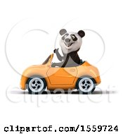 3d Panda Driving A Convertible On A White Background