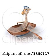 April 19th, 2018: Clipart Of A 3d Giraffe Sailor Rowing A Boat On A White Background Royalty Free Illustration by Julos