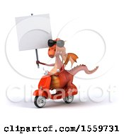 Clipart Of A 3d Red Dragon Riding A Scooter On A White Background Royalty Free Illustration