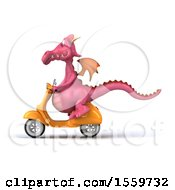 Clipart Of A 3d Pink Dragon Riding A Scooter On A White Background Royalty Free Illustration