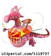 April 19th, 2018: Clipart Of A 3d Pink Dragon Holding A Firework And Champagne On A White Background Royalty Free Illustration by Julos