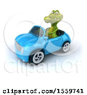 3d Crocodile Driving A Convertible On A White Background