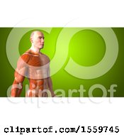 3d Half Visible Muscle Man On A Green Background