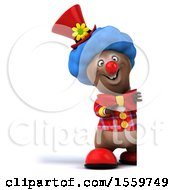 3d Brown Bear Clown On A White Background