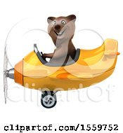3d Brown Bear Flying An Airplane On A White Background