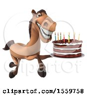 Poster, Art Print Of 3d Brown Horse Holding A Birthday Cake On A White Background