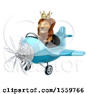 Poster, Art Print Of 3d Lion King Flying An Airplane On A White Background