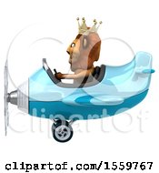 Clipart Of A 3d Lion King Flying An Airplane On A White Background Royalty Free Illustration
