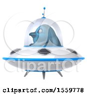 3d Blue Bird Flying A Ufo On A White Background