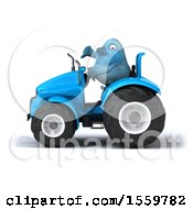 3d Blue Bird Operating A Tractor On A White Background