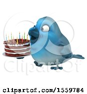 Poster, Art Print Of 3d Blue Bird Holding A Birthday Cake On A White Background