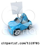 3d Blue Bird Driving A Convertible On A White Background