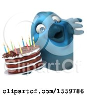 3d Blue Bird Holding A Birthday Cake On A White Background