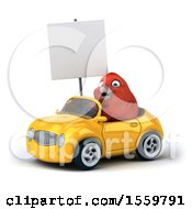 3d Red Bird Driving A Convertible On A White Background