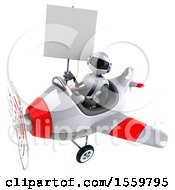 Poster, Art Print Of 3d White And Blue Robot Flying A Plane On A White Background