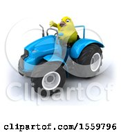 3d Yellow Bird Operating A Tractor On A White Background