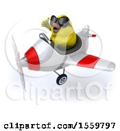 3d Yellow Bird Flying A Plane On A White Background