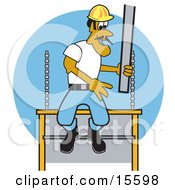 Male Construction Worker Laying Concrete Slabs And Wearing A Hardhat Clipart Illustration